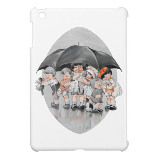 Children Playing in the Rain Holding Umbrellas Cover For The iPad Mini
