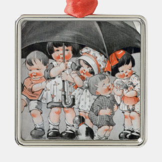 Children Playing in the Rain Holding Umbrellas Metal Ornament