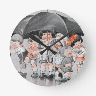 Children Playing in the Rain Holding Umbrellas Round Clock