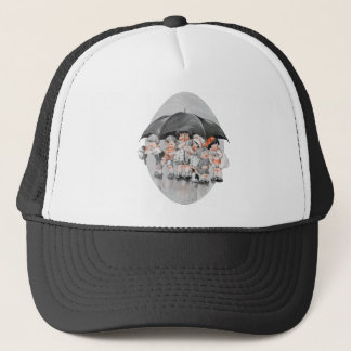 Children Playing in the Rain Holding Umbrellas Trucker Hat