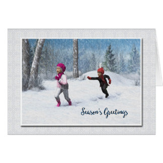 Children Playing in the Snow Christmas Card