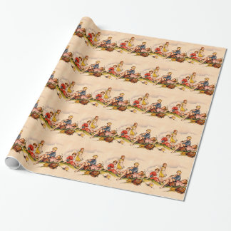 Children Playing Music Antique Watercolor Girls Wrapping Paper