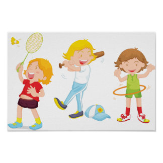 Children Playing Sports Poster