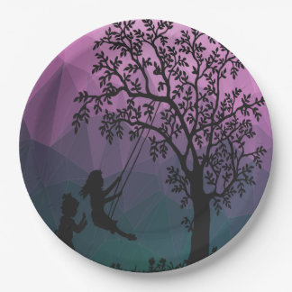 Children Playing Under a Tree 9 Inch Paper Plate