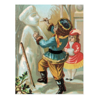 Children putting pipe in snowman's mouth,Christmas Postcard