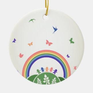 Children rainbow ceramic ornament