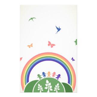 Children rainbow customized stationery