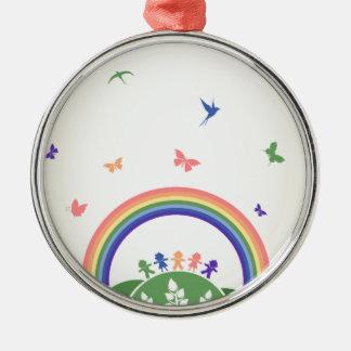 Children rainbow metal ornament