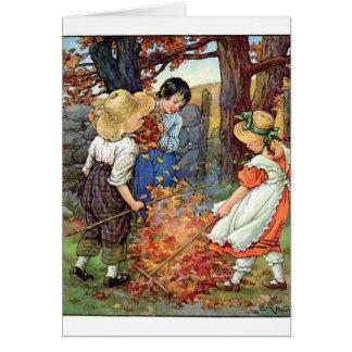 Children Raking Fall Leaves, Card