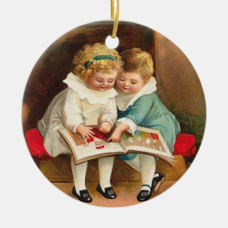 Children Reading Book Christmas Card Ceramic Ornament