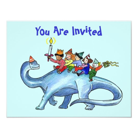 Children Riding Dinosaur BIRTHDAY PARTY INVITATION