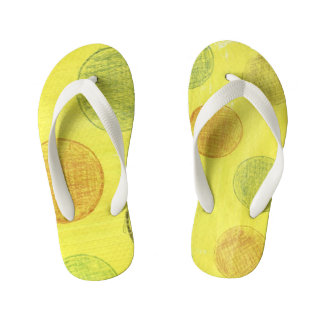 Children sandles yellow with polka dots. kid's flip flops