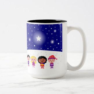 Children Singing Christmas Carols Two-Tone Mug