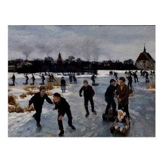 """""""Children Skating outside Faaborg,"""" fine art Postcard"""