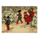 Children skiing, a vintage winter scene posters