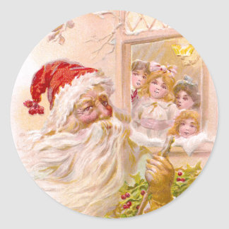 Children Spy Santa Outside Vintage Christmas Round Sticker