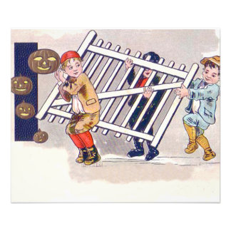 Children Stealing Fence Jack O Lantern Photo Print