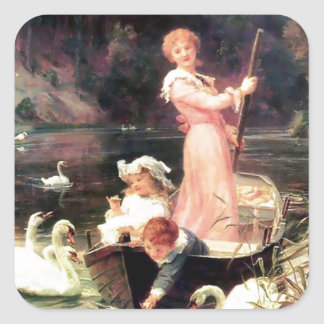 Children Swans Water Boat painting Square Sticker