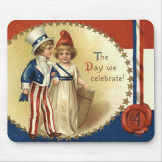 Children Uncle Sam Lady Liberty Star Mouse Pad