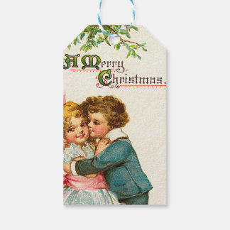 Children Under Christmas Mistletoe Gift Tags
