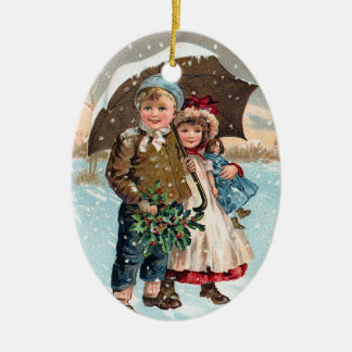 Children walking through the snow ceramic ornament