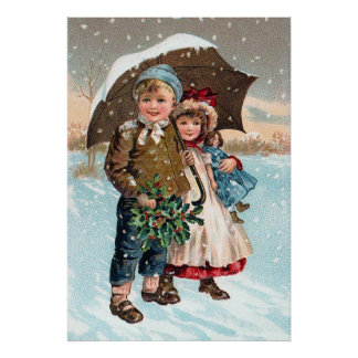 Children walking through the snow poster