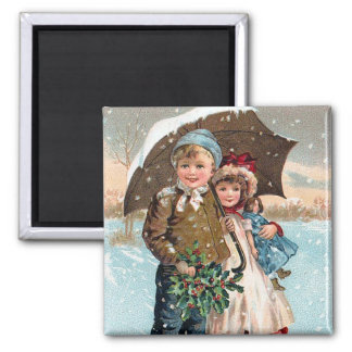Children walking through the snow square magnet