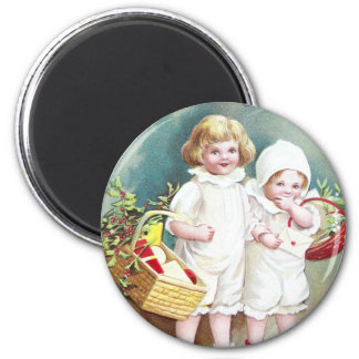 Children with Baskets Vintage Christmas 2 Inch Round Magnet