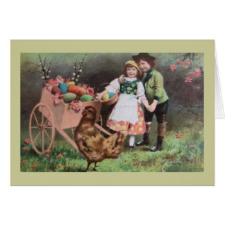 Children With Cart Of Easter Eggs Greeting Card