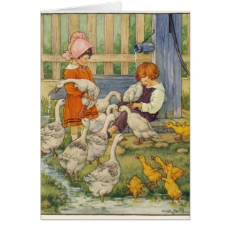 Children with Geese and Goslings, Card