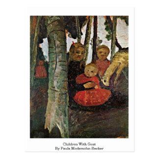 Children With Goat By Paula Modersohn-Becker Postcard
