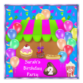 Childrens 2nd Colorful Birthday Party Invitation