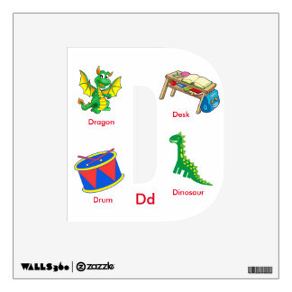 Childrens' ABC Square Wall Decal Letter D