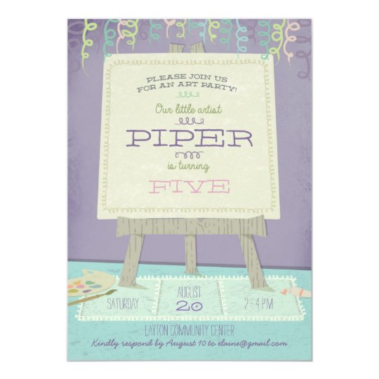 Childrens Art Birthday Party Invitation