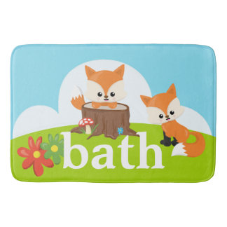 Children's Baby Cute Adorable Brown Fox Bath Mat