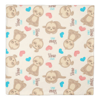 Children's Baby Cute Adorable Brown Sloth Duvet Cover