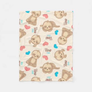 Children's Baby Cute Adorable Brown Sloth Fleece Blanket