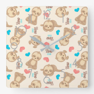 Children's Baby Cute Adorable Brown Sloth Square Wall Clock