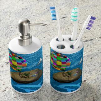 childrens bathset toothbrush soap dispenser