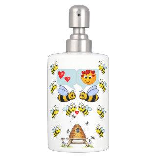 childrens bathset toothbrush soap dispenser bees
