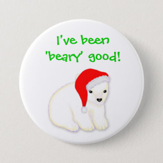 Childrens Beary Good  Christmas Polar Pear Button