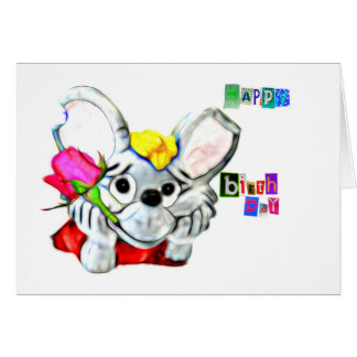 Children's birthday card with A mouse
