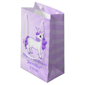 Childrens Birthday Cute Purple Unicorn Cartoon Small Gift Bag