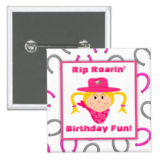 Children's Blonde Cowgirl Horseshoes Party Favor 2 Inch Square Button
