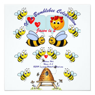 childrens bumblebee birthday invitation party