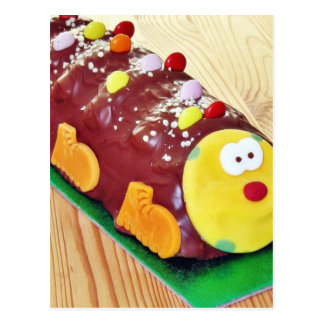 Childrens Chocolate Cake In Caterpillar Shape Postcard