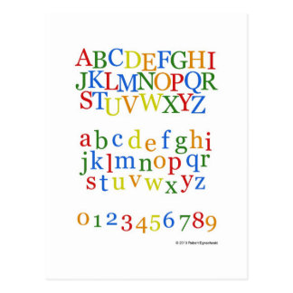 Children's Colorful Alphabet Upper + Lower Case Postcard