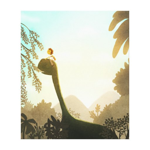 "Children's Dinosaur Art ""Morning Snack"" Canvas Print"