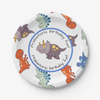 Children's Dinosaur Pattern Birthday Party 7 Inch Paper Plate