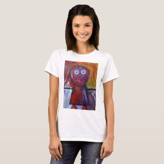 Children's drawing-girl stick figure paint T-shirt